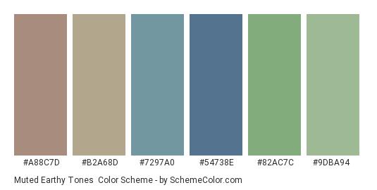 Muted Earthy Tones - Color scheme palette thumbnail - #a88c7d #b2a68d #7297a0 #54738e #82ac7c #9dba94