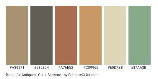 Beautiful Antiques - Color scheme palette thumbnail - #a89271 #635e54 #a76e52 #c89965 #e0d7b8 #87aa8b