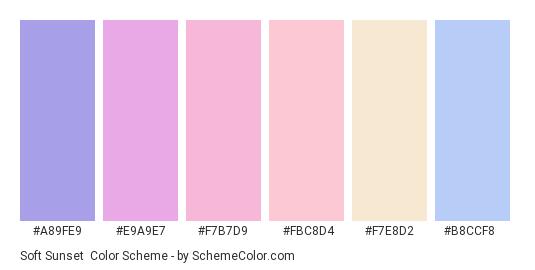 Soft Sunset - Color scheme palette thumbnail - #a89fe9 #e9a9e7 #f7b7d9 #fbc8d4 #f7e8d2 #b8ccf8