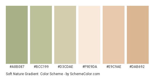 Soft Nature Gradient - Color scheme palette thumbnail - #a8b087 #bcc199 #d3cdae #f9e9da #e9c9ae #dab692