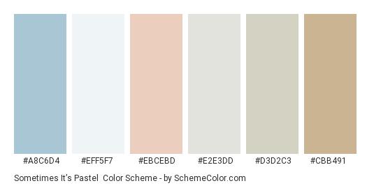 Sometimes it's Pastel - Color scheme palette thumbnail - #a8c6d4 #eff5f7 #ebcebd #e2e3dd #d3d2c3 #cbb491