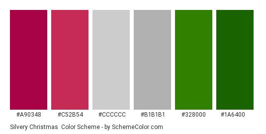 Silvery Christmas - Color scheme palette thumbnail - #a90348 #c52b54 #cccccc #b1b1b1 #328000 #1a6400