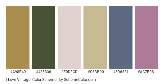 I Love Vintage - Color scheme palette thumbnail - #a98e4d #485336 #e0d3cd #c6bb90 #5d6881 #ac7b98
