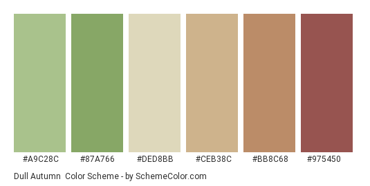 Dull Autumn - Color scheme palette thumbnail - #a9c28c #87a766 #ded8bb #ceb38c #bb8c68 #975450