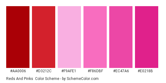 Reds and Pinks - Color scheme palette thumbnail - #aa0006 #d3212c #f9afe1 #f86dbf #ec47a6 #e0218b