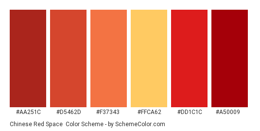 Chinese Red Space - Color scheme palette thumbnail - #aa251c #d5462d #f37343 #ffca62 #dd1c1c #a50009