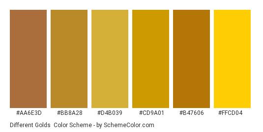 Different Golds - Color scheme palette thumbnail - #aa6e3d #bb8a28 #d4b039 #cd9a01 #b47606 #ffcd04