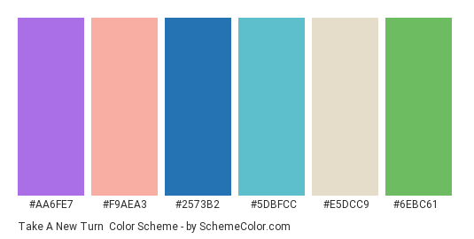 Take a New Turn - Color scheme palette thumbnail - #aa6fe7 #f9aea3 #2573b2 #5dbfcc #e5dcc9 #6ebc61