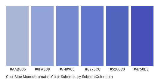 Cool Blue Monochromatic - Color scheme palette thumbnail - #aab6d6 #8fa3d9 #7489ce #6275cc #5266c0 #4750b8