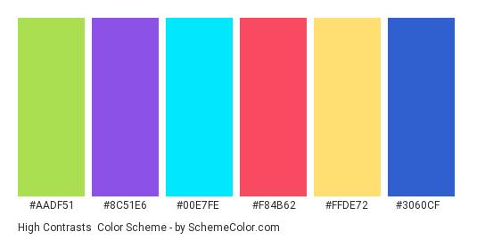 High Contrasts - Color scheme palette thumbnail - #aadf51 #8c51e6 #00e7fe #f84b62 #ffde72 #3060cf