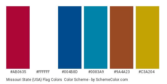 Missouri State (USA) Flag Colors - Color scheme palette thumbnail - #ab0635 #ffffff #004b8d #0083a9 #9a4a23 #c3a204