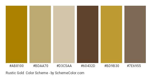 Rustic Gold - Color scheme palette thumbnail - #ab8100 #bdaa70 #d3c5aa #60432d #bd9b30 #7e6955