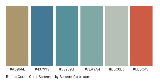 Rustic Coral & Blue - Color scheme palette thumbnail - #ab966e #437993 #55909b #7ea9a4 #b5c0b6 #cd5c45