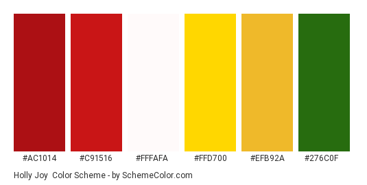Holly Joy - Color scheme palette thumbnail - #ac1014 #c91516 #fffafa #ffd700 #efb92a #276c0f