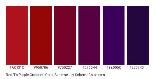 Red to Purple Gradient - Color scheme palette thumbnail - #ac131c #950706 #750227 #570044 #3b005c #250740