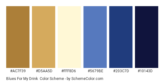 Blues for My Drink - Color scheme palette thumbnail - #ac7f39 #d5aa5d #fff8d6 #5679be #203c7d #10143d