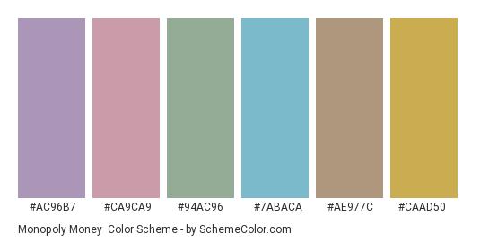 Monopoly Money - Color scheme palette thumbnail - #ac96b7 #ca9ca9 #94ac96 #7abaca #ae977c #caad50