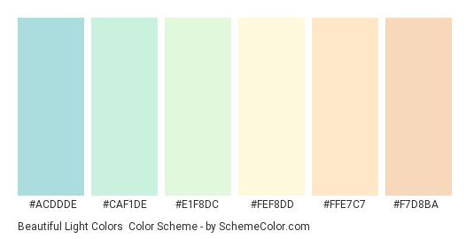 Beautiful Light Colors - Color scheme palette thumbnail - #acddde #caf1de #e1f8dc #fef8dd #ffe7c7 #f7d8ba