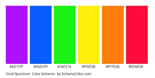 Vivid Spectrum - Color scheme palette thumbnail - #ad11ff #0a5cff #1af214 #ffef0b #ff7e0b #fd0b3b