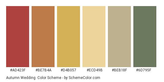 Autumn Wedding - Color scheme palette thumbnail - #ad423f #be7b4a #d4b057 #ecd49b #beb18f #6d795f