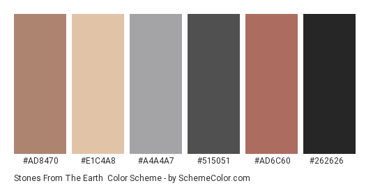 Stones from the Earth - Color scheme palette thumbnail - #ad8470 #e1c4a8 #a4a4a7 #515051 #ad6c60 #262626