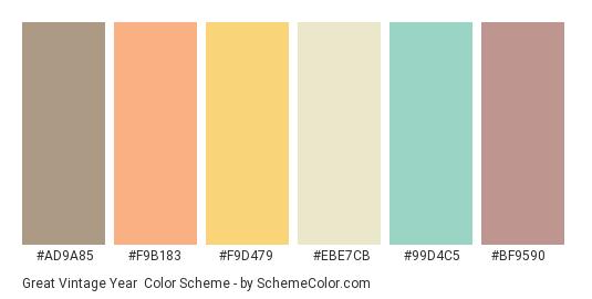 Great Vintage Year - Color scheme palette thumbnail - #ad9a85 #f9b183 #f9d479 #ebe7cb #99d4c5 #bf9590