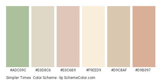 Simpler Times - Color scheme palette thumbnail - #adc09c #e0d8c6 #e0c6b9 #f9eed9 #d9c8af #d9b097