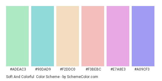 Soft and Colorful - Color scheme palette thumbnail - #adeac3 #90dad9 #f2ddc0 #f3bebc #e7a8e3 #a09cf3