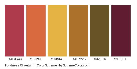Fondness of Autumn - Color scheme palette thumbnail - #ae3b4c #d9693f #e5b343 #ac722b #665326 #5e1d31