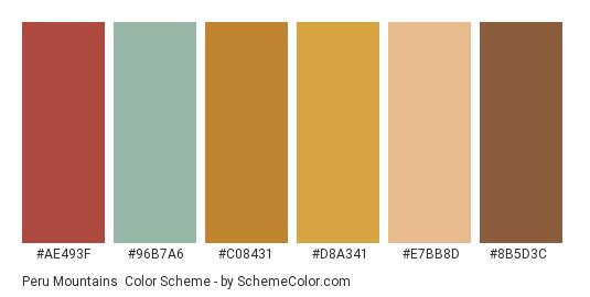 Peru Mountains - Color scheme palette thumbnail - #ae493f #96b7a6 #c08431 #d8a341 #e7bb8d #8b5d3c