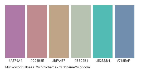 Multi-color Dullness - Color scheme palette thumbnail - #ae79a4 #c08b8e #bfa487 #b8c2b1 #52bbb4 #718eaf