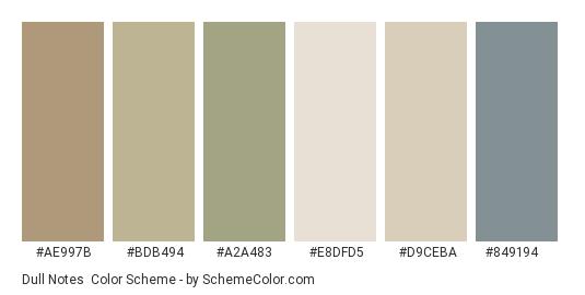Dull Notes - Color scheme palette thumbnail - #ae997b #bdb494 #a2a483 #e8dfd5 #d9ceba #849194