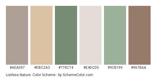 Listless Nature - Color scheme palette thumbnail - #aea097 #dbc2a3 #778c74 #e4dcd5 #9cb199 #967b6a