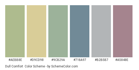 Dull Comfort - Color scheme palette thumbnail - #aebb8e #d9cd98 #9cb29a #718a97 #b2b5b7 #a5848e