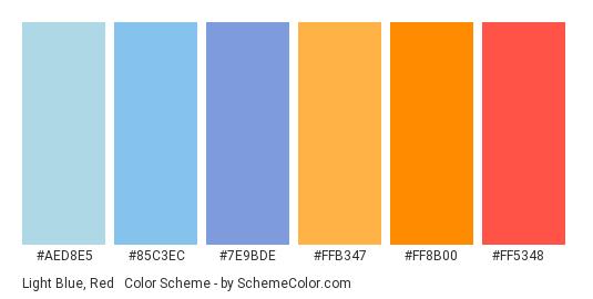 Light Blue, Red & Orange - Color scheme palette thumbnail - #aed8e5 #85c3ec #7e9bde #ffb347 #ff8b00 #ff5348