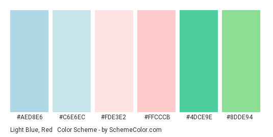 Light Blue, Red & Green - Color scheme palette thumbnail - #aed8e6 #c6e6ec #fde3e2 #ffcccb #4dce9e #8dde94