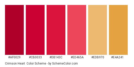 Crimson Heart - Color scheme palette thumbnail - #af0029 #cb0033 #db143c #ed465a #edb970 #e4a241