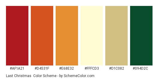 Last Christmas - Color scheme palette thumbnail - #af1a21 #d4531f #e68e32 #fffcd3 #d1c082 #094d2c