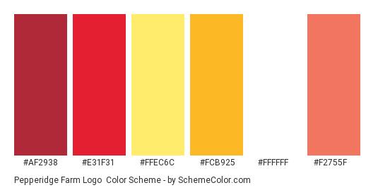 Pepperidge Farm Logo - Color scheme palette thumbnail - #af2938 #e31f31 #ffec6c #fcb925 #ffffff #f2755f