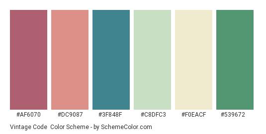 Vintage Code - Color scheme palette thumbnail - #af6070 #dc9087 #3f848f #c8dfc3 #f0eacf #539672