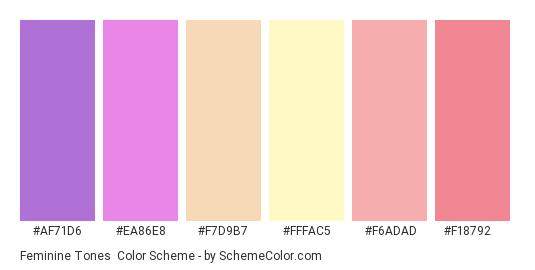 Feminine Tones - Color scheme palette thumbnail - #af71d6 #ea86e8 #f7d9b7 #fffac5 #f6adad #f18792