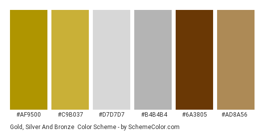 Gold, Silver And Bronze Color Scheme » Brown » SchemeColor com