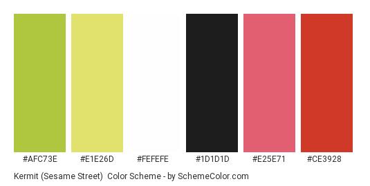 Kermit (Sesame Street) - Color scheme palette thumbnail - #afc73e #e1e26d #fefefe #1d1d1d #e25e71 #ce3928