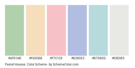 Pastel Houses - Color scheme palette thumbnail - #afd1ab #f6ddbb #f7c1c8 #b2bde2 #b7dbdd #e8e8e5