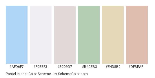 Pastel Island - Color scheme palette thumbnail - #afd6f7 #f0eef3 #e0d9d7 #b4ceb3 #e4d8b9 #dfbeaf