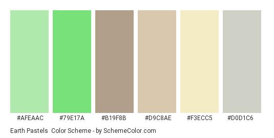 Earth Pastels - Color scheme palette thumbnail - #afeaac #79e17a #b19f8b #d9c8ae #f3ecc5 #d0d1c6