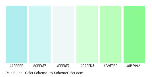 Pale Blues & Greens - Color scheme palette thumbnail - #afeeee #cef6f5 #eef8f7 #d2ffd5 #b9ffb9 #8bf992