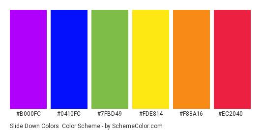 Slide Down Colors - Color scheme palette thumbnail - #b000fc #0410fc #7fbd49 #fde814 #f88a16 #ec2040