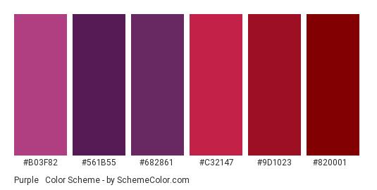 Purple & Maroon - Color scheme palette thumbnail - #b03f82 #561b55 #682861 #c32147 #9d1023 #820001