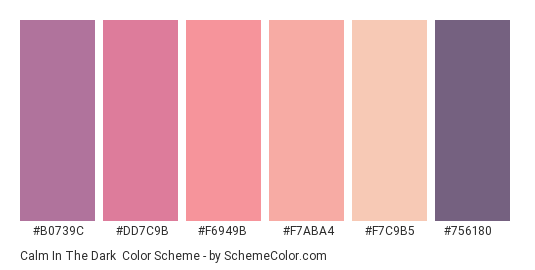 Calm in the Dark - Color scheme palette thumbnail - #b0739c #dd7c9b #f6949b #f7aba4 #f7c9b5 #756180